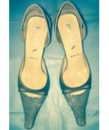 EUC Prada Beige Stamped Leather Snakeskin Print Toe w/ Beige Satin Heels... - $128.69