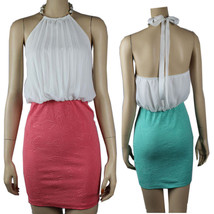 Pleated Chiffon Top Stretch Skirt HALTER DRESS w/ Necklace Party Sexy Dr... - $31.99