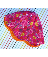 Girls Pink Peace Sign Fabric Petal Hat Reversible Lined - Handmade Size ... - $14.00