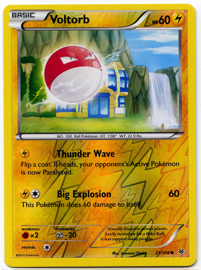 Voltorb 21/108 Reverse Holo Common Roaring Skies Pokemon Card