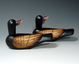 Antique Alive Korean Traditional Carved Wedding Wooden Geese Duck Figuri... - $79.38