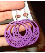 New Fashion Women's Khmer Wood Hoop Dangle Pierced Earrings  - $8.99
