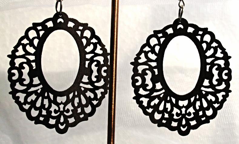 New Fashion Women's Khmer Wood Hoop Dangle Pierced Earrings