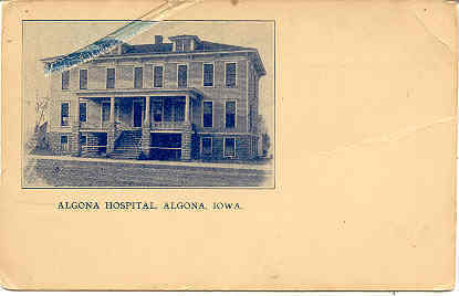 Primary image for Alogna Hospital Algona Iowa vintage 1910 Post Card