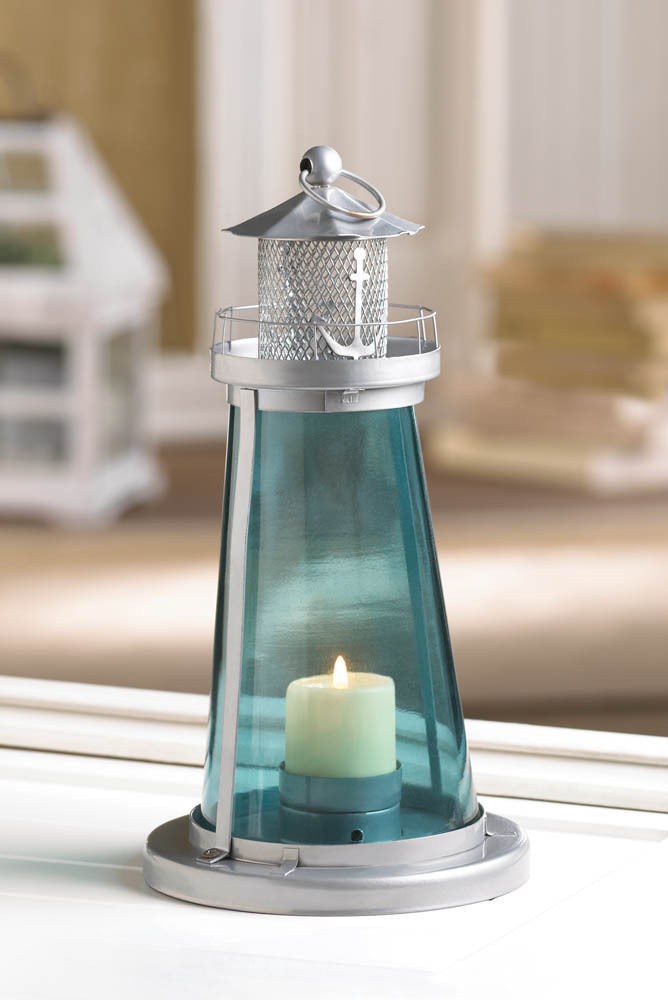 LOT Of 5 Blue Glass Watch Tower Lighthouse Candle Lamps Nautical Decor