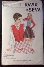 Vintage Kwik Sew 502 Misses Ladies Skirt Vest Suit Size 8 10 12 - $7.99