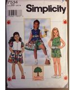 Simplicity Sewing Pattern 7534 Girls Dress Top Shorts Size 5 6 7 8 Uncut - $9.50