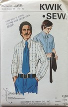 Kwik Sew 465 Vintage Men's Shirt Sewing Pattern Size 36-40 - $8.99