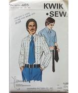 Kwik Sew 465 Vintage Men's Shirt Sewing Pattern Size 36-40 - $8.99