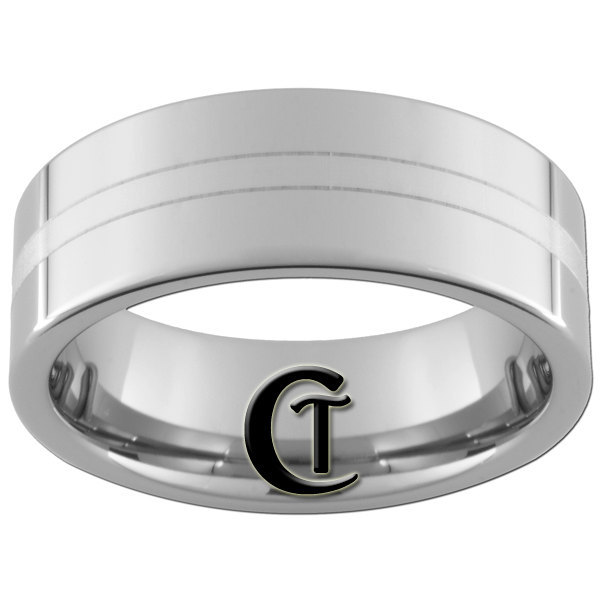 Tungsten Carbide 8mm Pipe Lasered Line Design Ring Sizes 4-17
