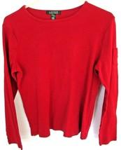 Lauren Ralph Lauren WOMENS LARGE Long Sleeve Cotton RED Casual SHIRT - W... - $8.68