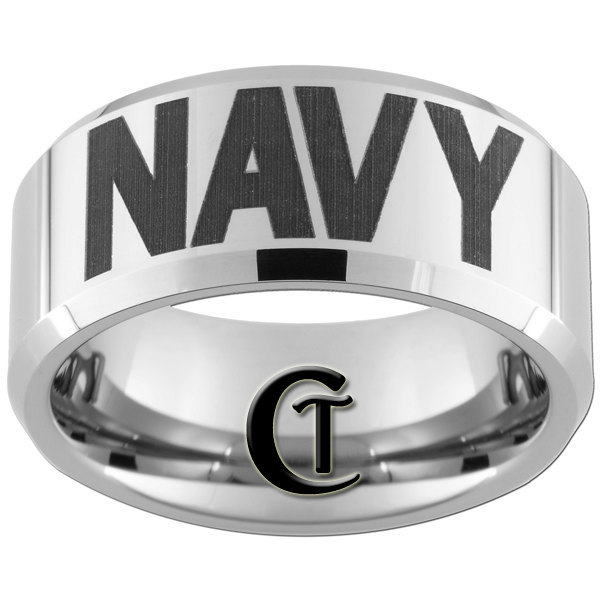 10mm Beveled Tungsten Carbide Laser NAVY Design Ring Sizes 4-17
