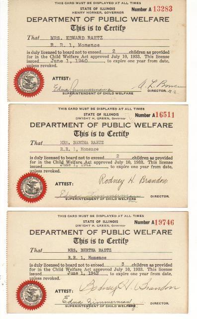 Three Dept of Public Welfare Cards, 1940, 1941, 1942, Collectibles