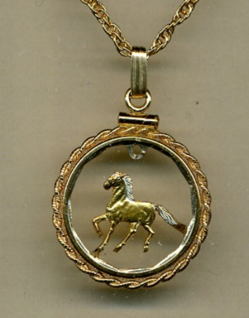 "Uruguay 10 ""aluminum - bronze"" , cut coin pendent with necklace"