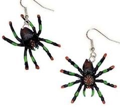 Funky Tarantula Spider Earrings Gothic Cosplay Halloween Witch Costume Jewelry - $7.99