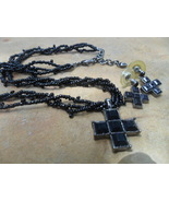 Black Beaded Necklace and Earring with Cross Pendant - $22.00