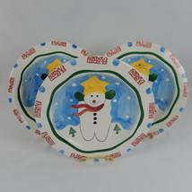 3 Mary Jane Mitchell Snowman Luncheon Plates HausenWare Handpainted Chri... - $14.84