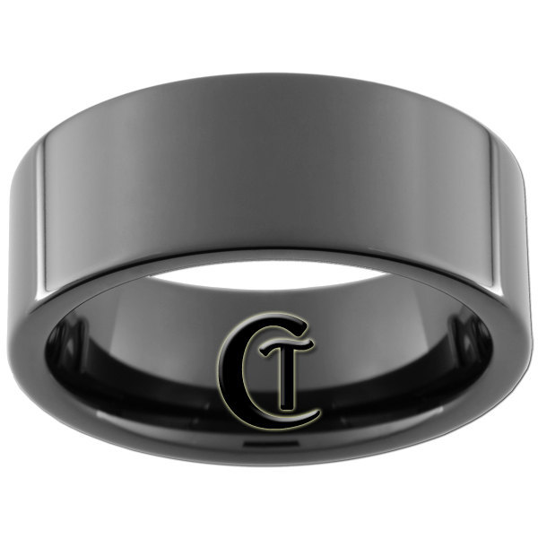 9mm Black Tungsten Carbide Band Pipe Ring Sizes 5-15
