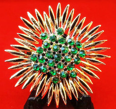 Vintage 1950's Emerald Crystal & Gold-tone Sunflower Brooch - $31.00