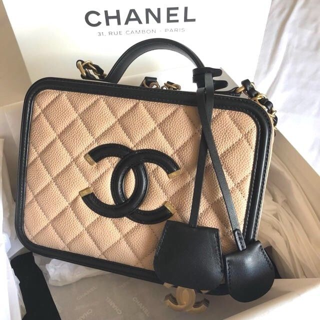 57. 57. Previous. CHANEL CC Filigree Chain Shoulder Hand Mini Bag Vanity  Case Box Woman Auth New 3da5e13620f0e