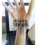 sparrow bird chandelier earrings big dangle drops bronze filigrees bird ... - $6.99