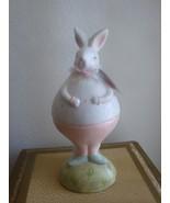 "Easter Ceramic  Bunny Rabbit Figurine White with Pink  Poka Dots 9"" New - $10.99"