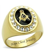 MEN'S GOLD TONE STAINLESS STEEL OVAL ENAMEL CRYSTAL MASONIC RING SIZE 8 ... - $16.99