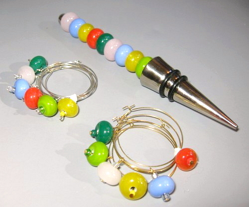 Handcrafted Lampwork Pastel Colors Wine Stopper Charms Set Bonanza