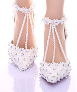 White Lace closed toe wedding shoes,Designer Bridal Shoes,Pearls wedding... - $98.00