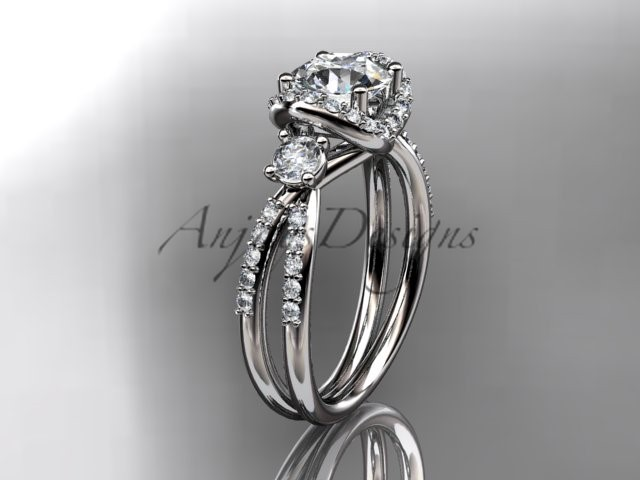 Leafring146 white gold  platinum  diamond wedding ring  diamond engagement ring  forever brilliant moissanite  1 marked