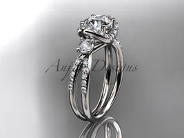 Leafring146 white gold  platinum  diamond wedding ring  diamond engagement ring  forever brilliant moissanite  1 marked thumb200