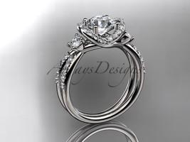 Leafring146 white gold  platinum  diamond wedding ring  diamond engagement ring  forever brilliant moissanite  2 marked thumb200