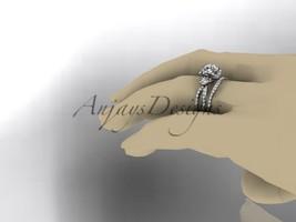 Leafring146 white gold  platinum  diamond wedding ring  diamond engagement ring  forever brilliant moissanite  6a marked thumb200