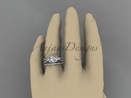 Leafring146 white gold  platinum  diamond wedding ring  diamond engagement ring  forever brilliant moissanite  6b marked thumb200