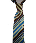 Mens necktie tasteful blue& brown stripe screen print ,high twist yarn,... - $19.50