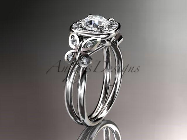Leafring330 white gold  platinum  diamond wedding ring  diamond engagement ring  forever brilliant moissanite  1 marked