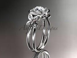 Leafring330 white gold  platinum  diamond wedding ring  diamond engagement ring  forever brilliant moissanite  1 marked thumb200