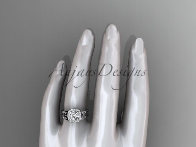 Unique butterfly bridal ring, 14kt white gold butterfly engagement ring, with mo