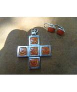 Enamel Orange and Silver Cross and Earring Set ... - $23.00