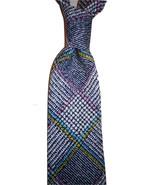 Mens necktie sophisticated grey/yellow plaid silkscreen print, lovely p... - $19.50