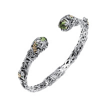 18 Karat Gold and Sterling Silver Green Amethyst Bali Bangle - $339.99