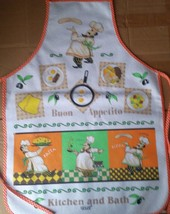 """Printed Kitchen Apron, 19"""" x 27"""", 100 % Cotton with vinyl back, 3 FAT CHEFS - $14.84"""