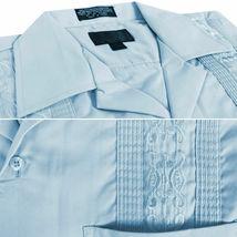 Men's Light Blue Beach Wedding Casual Short Sleeve Guayabera Dress Shirt - 2XL image 3
