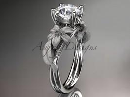 Flower and leaf engagement ring, 14kt white gold leaf and vine wedding ring, eng - $595.00