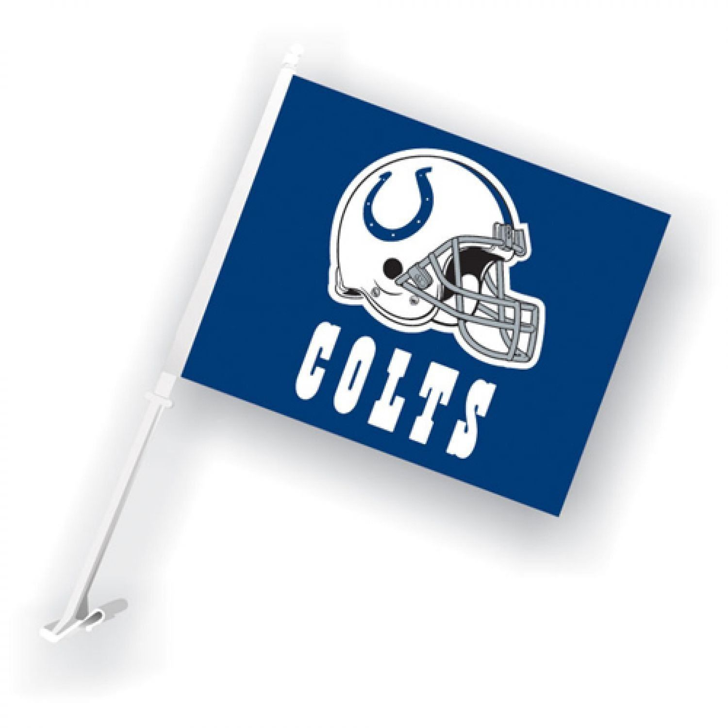 INDIANAPOLIS COLTS CAR AUTO FLAG BANNER & POLE 2 SIDED NFL FOOTBALL