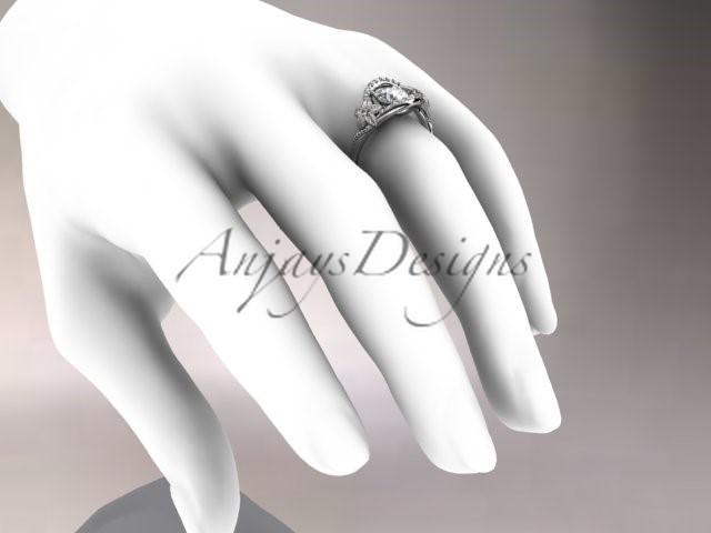 Platinum Diamond Unique Engagement Ring, Wedding Ring