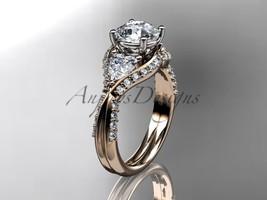 Unique 14kt rose gold diamond wedding ring, engagement ring ADLR319 - $2,225.00