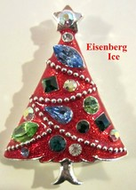 Rare EISENBERG ICE Red Enamel Christmas Tree Brooch Pin Multi Colored St... - $45.99