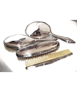 Art Deco 800 Silver 4 Piece Vanity Set Signed ... - $149.00