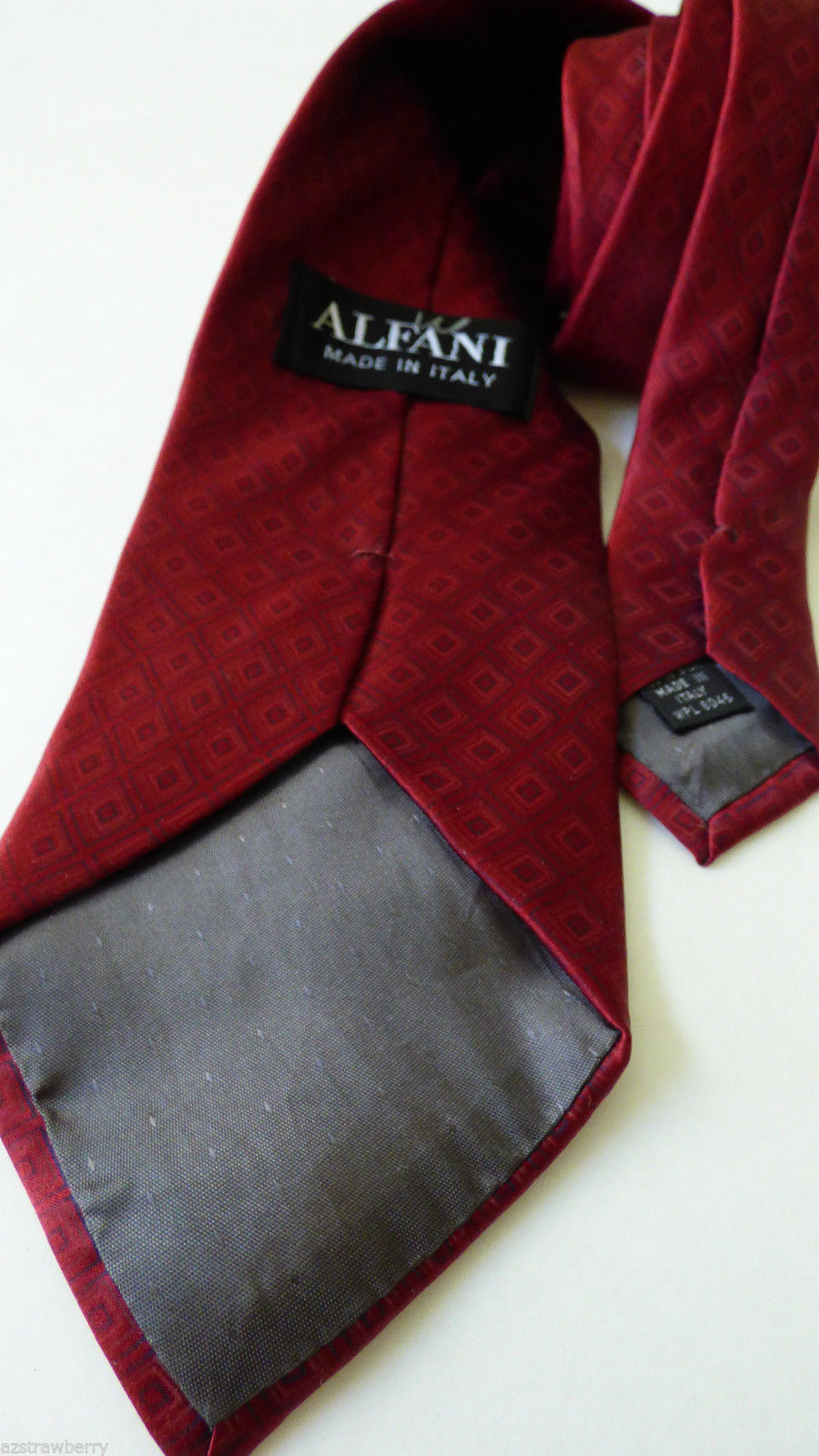 "ALFANI made in Italy Silk Necktie Tie Diamong pattern Burdundy red color 60""L"